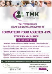 NOUVELLE PROMOTION DE FORMATEUR POUR ADULTES - FPA TITRE PRO. NIV III - RNCP